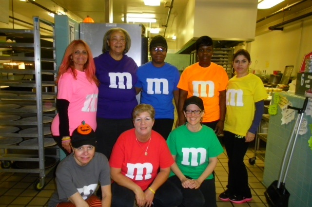 Lena Perez, Manager, and her staff having fun with Halloween at Park Middle School in Scotch Plains.